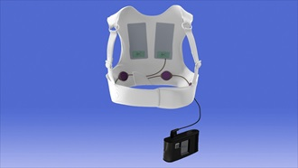 Illustration of the ZOLL LifeVest, a wearable defibrillator for patients at risk of sudden cardiac death